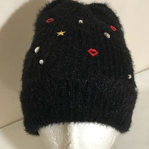 OS Betsy Johnson Embellished Fuzzy Knit Beanie